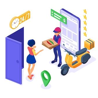 Servicio de pedido y entrega de alimentos en línea con mensajería y pizza