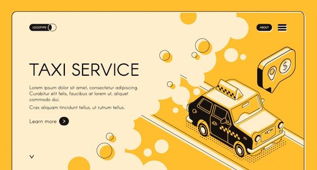 Servicio de pedidos en línea de taxis con banner de cálculo de costo de viaje o página de destino