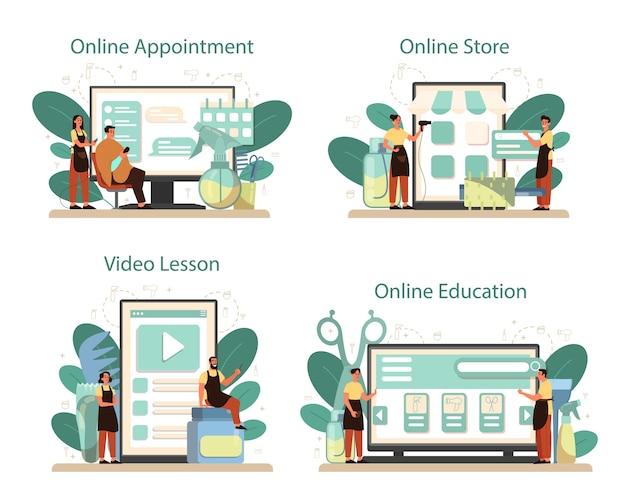 Servicio de peluquería en línea o conjunto de plataforma. idea de cuidado del cabello en el salón. tratamiento y peinado del cabello. lección de video en línea, cita, tienda, educación.