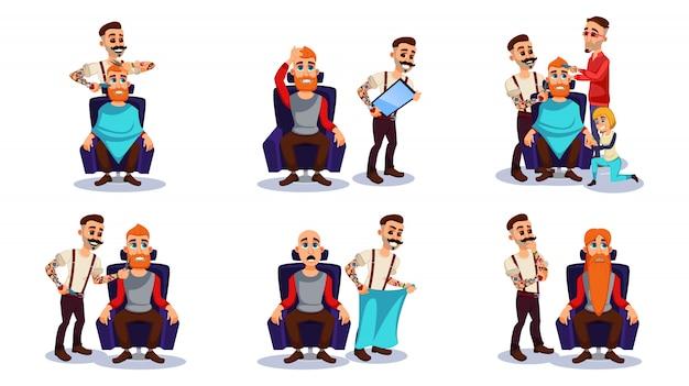 Servicio de peluquería, personajes masculinos hacen corte de pelo.