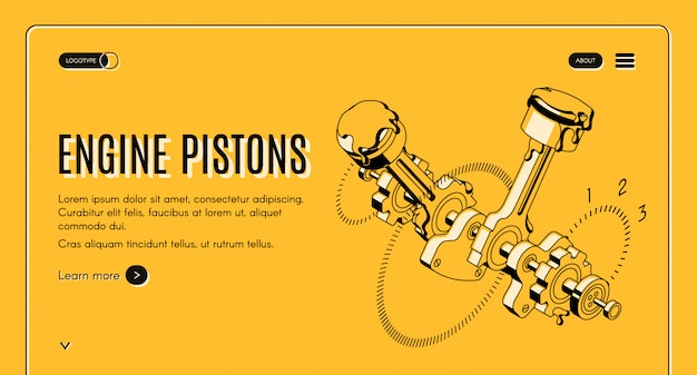 Servicio de pistones de motor, taller de reparaciones web banner isométrico