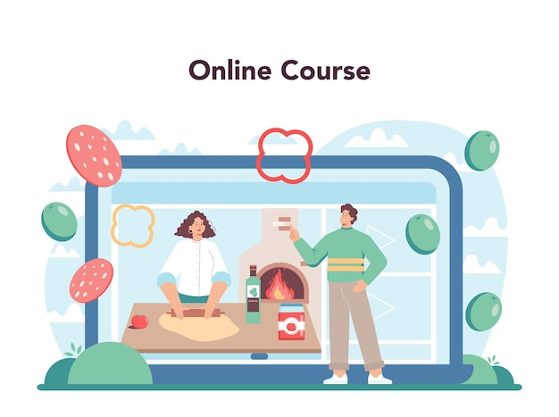 Servicio de pizzería en línea o chef de plataforma cocinando deliciosa pizza deliciosa