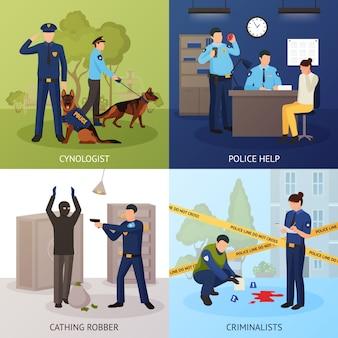 Servicio de policía 4 iconos planos cuadrados