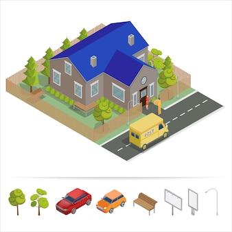 Servicio postal casa isométrica con camión de reparto