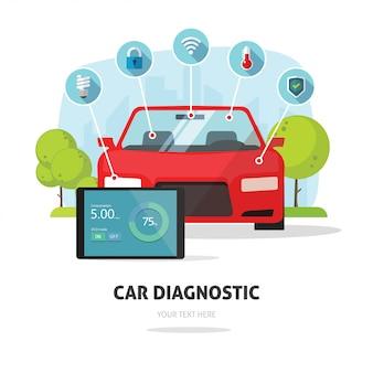 Servicio de prueba de diagnóstico de coche o concepto de seguro.