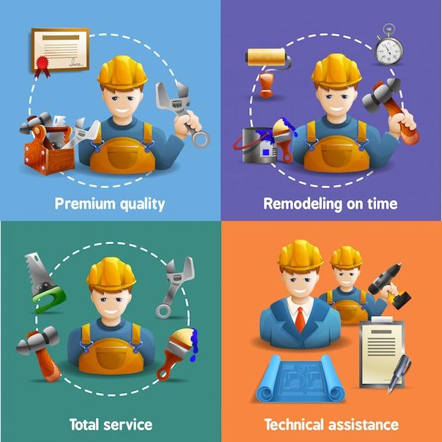Servicio de remodelación 4 iconos planos cuadrados