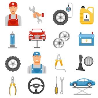 Servicio de reparación de automóviles iconos planos establecidos