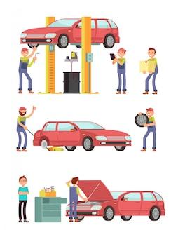 Servicio de reparación de automóviles con personajes mecánicos en conjunto uniforme