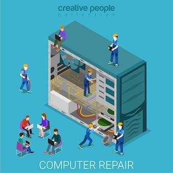 Servicio de reparación de computadoras de escritorio plano isométrico