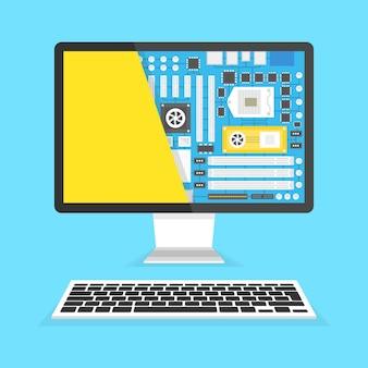 Servicio de reparación de computadoras. placa base en la sección de la pantalla