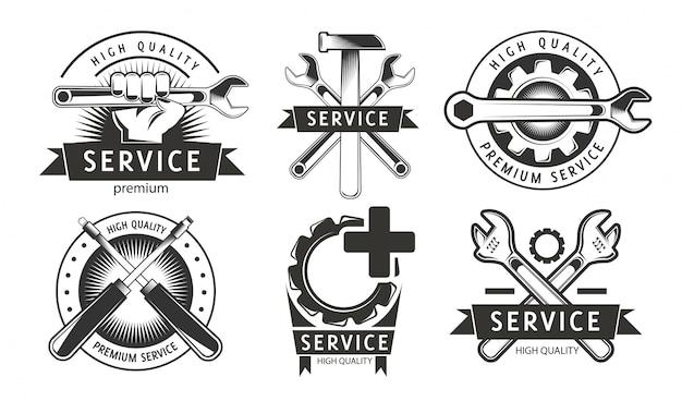 Servicio, reparación de conjunto de etiquetas o logotipos.