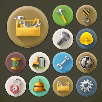 Servicio y reparación, conjunto de iconos de larga sombra