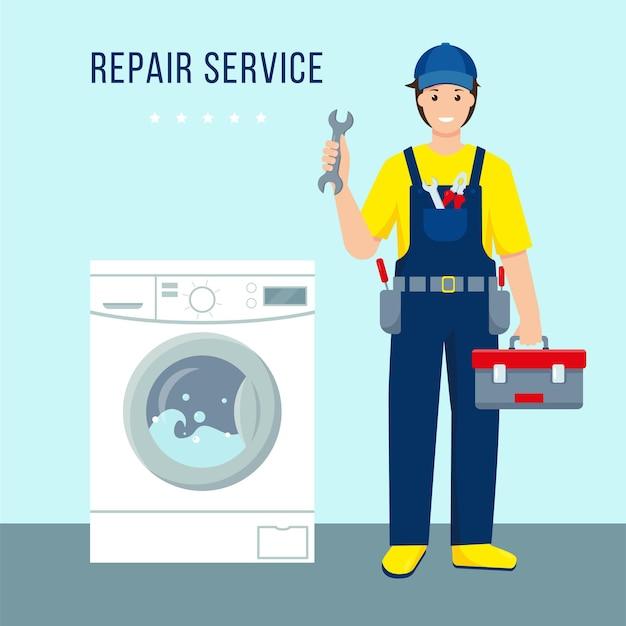 Servicio de reparación de lavadoras, carácter de hombre de reparación en uniforme y lavadora en funcionamiento