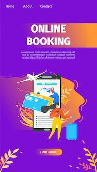 Servicio de reservas en línea flat vector página de destino