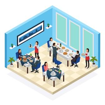 Servicio de restaurante composición isométrica