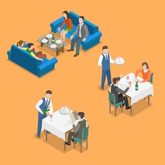 Servicio de restaurante isométrico concepto vector plano.
