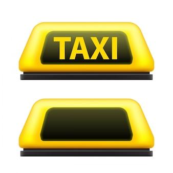 Servicio de taxi amarillo techo del coche firmar en la calle.