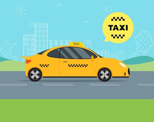 Servicio de taxi en coche en movimiento sobre un sedán de fondo de paisaje en la ciudad