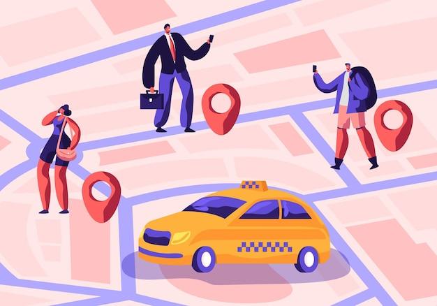 Servicio de taxi. conductor en taxi amarillo esperando y entrega de pasajeros con equipaje a destino. ilustración plana de dibujos animados