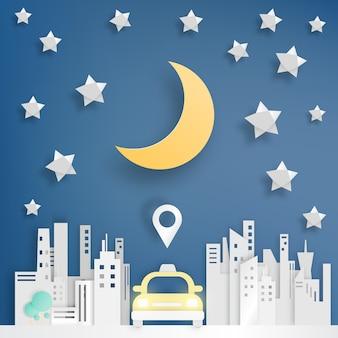 Servicio de taxi en el estilo de arte de papel de la ciudad.