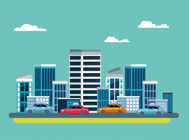 Servicio de taxi en icono de paisaje urbano