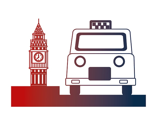 Servicio de taxi inglés y big ben symbol vector illustration