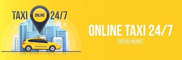 Servicio de taxi en línea banner, rascacielos urbanos de la ciudad.
