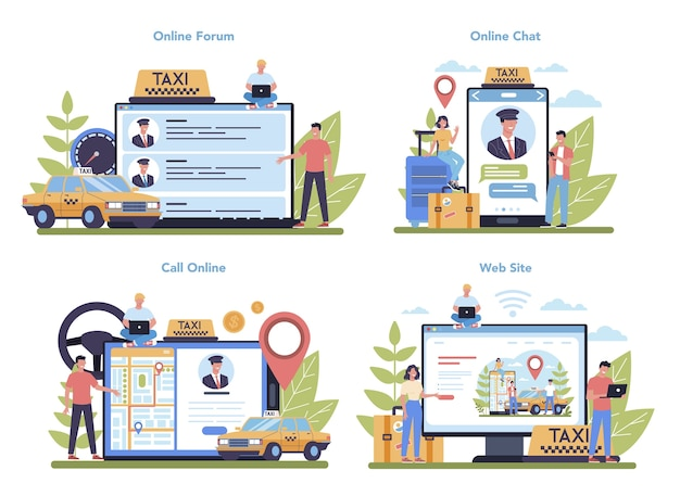 Servicio de taxi en línea o conjunto de plataforma. coche de taxi amarillo. idea de transporte público de la ciudad. foro en línea, chat, sitio web y reservas en línea. ilustración plana aislada