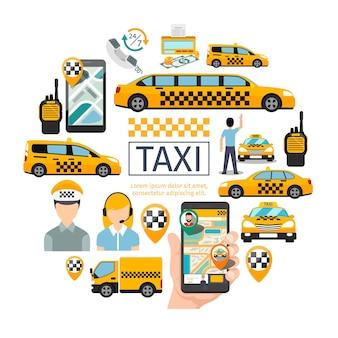 Servicio de taxi plano concepto redondo con conductor, operador, radio de pasajeros, conjunto de punteros de mapa, contador de dinero móvil con aplicación de navegación, ilustración de diferentes coches
