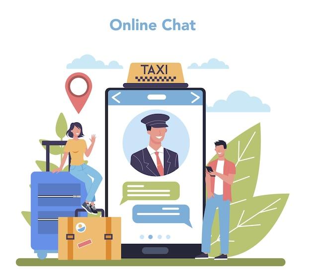 Servicio de taxi servicio online o plataforma. coche de taxi amarillo. idea de transporte público de la ciudad. chat en línea. ilustración plana aislada