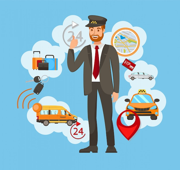 Servicio de taxi vector illustration