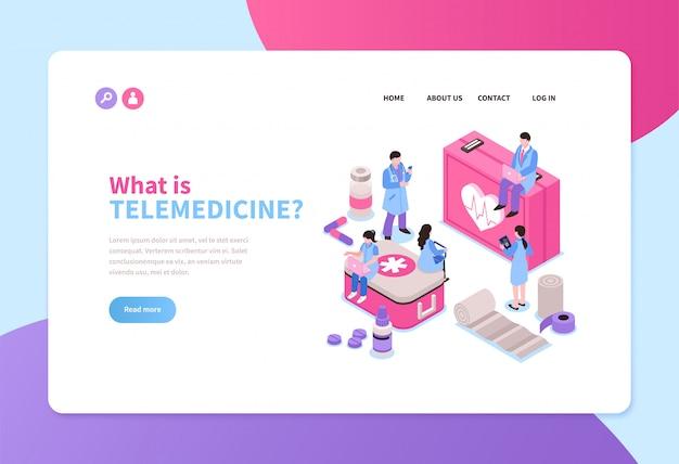 Servicio de telemedicina banner horizontal isométrica con médicos en línea 3d