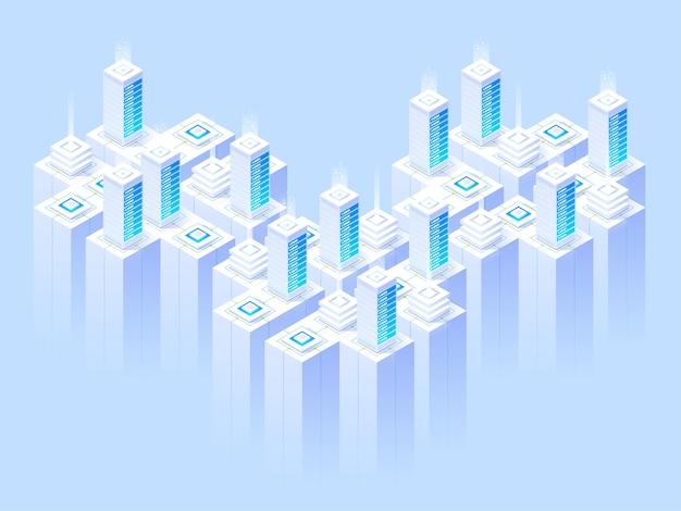 Servicios de alojamiento, centro de datos, sala de servidores, plantilla de página sobre el tema de las tecnologías de la información. ilustración isométrica