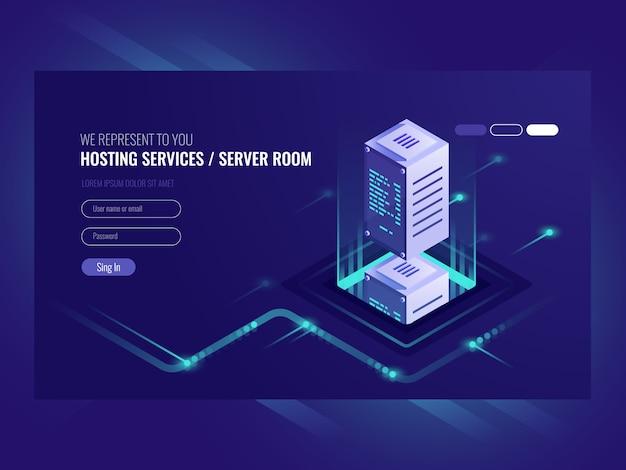Servicios de alojamiento, centro de datos, sala de servidores del servidor