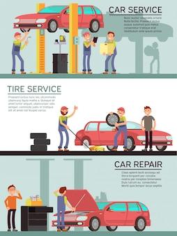 Servicios de automóviles y auto garage vector marketing banners.