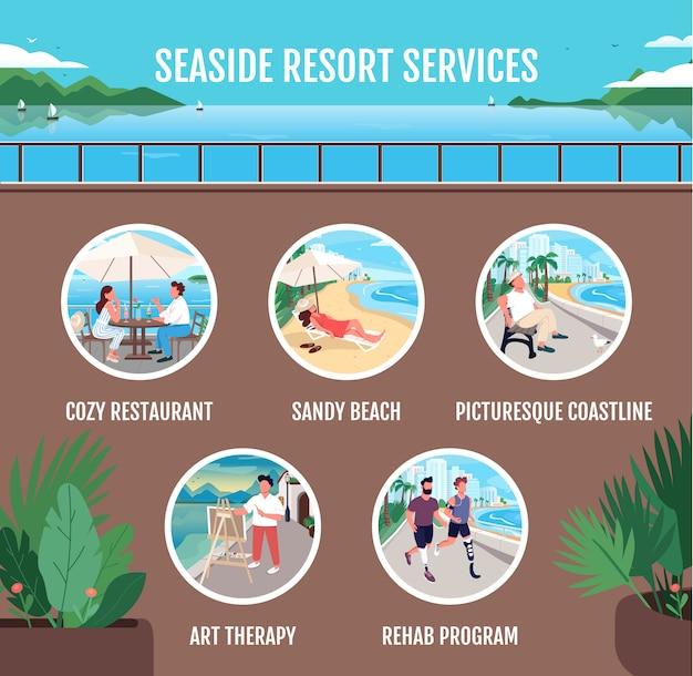 Servicios de balneario plantilla de infografía informativa de vector de color plano. cartel, folleto, diseño de concepto de página ppt con personajes de dibujos animados.