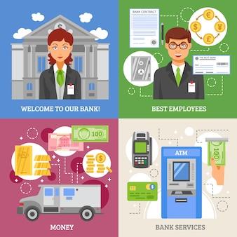 Servicios de banco 2x2 design concept