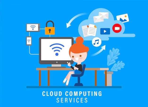 Servicios de computación en la nube, ilustración del concepto de seguridad en línea. chica con computadora en su espacio de trabajo. personaje de dibujos animados de estilo de diseño plano
