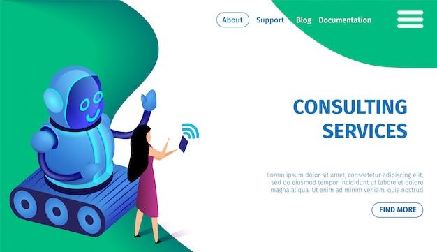 Servicios de consultoría banner horizontal, copia espacio.