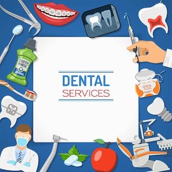 Servicios dentales odontología banner y marco de higiene con iconos planos silla de dentista, aparatos ortopédicos, rayos x, cartucho de jeringa, implante, herramientas de odontología y enjuague de dientes. ilustración vectorial aislada