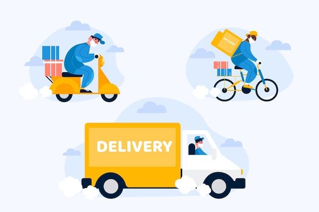 Servicios de entrega conduciendo diferentes vehículos y usando máscara