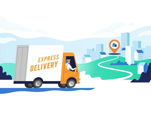 Servicios de entrega urgente y logística. camión con hombre lleva paquetes en puntos. concepto de mapa en línea, seguimiento, servicio.