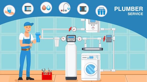 Servicios de fontanero web de dibujos animados con texto