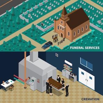 Servicios funerarios banners isométricos