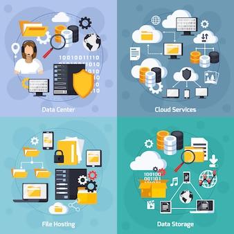 Servicios de hosting concepto conjunto de iconos