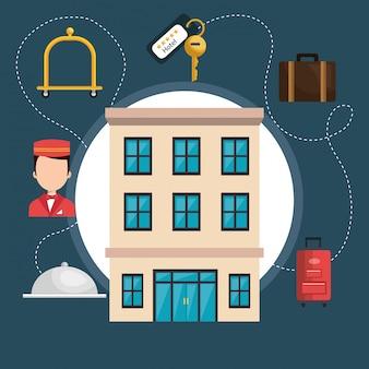 Servicios de hotel set iconos
