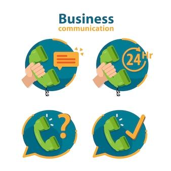 Servicios icono de 24 horas, servicio al cliente, soporte de call center.