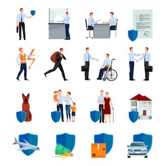 Los servicios del juego de caracteres de la compañía de seguros con las políticas de seguridad de la salud y la propiedad aislados ilustración vectorial