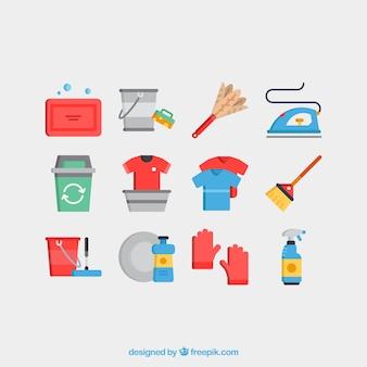 Servicios de limpieza iconos conjunto de vectores