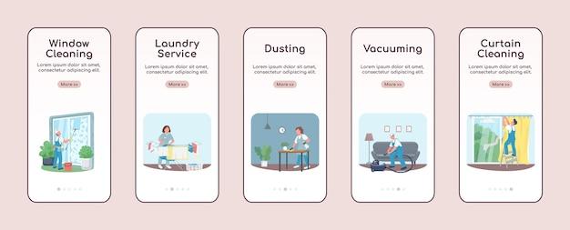 Servicios de limpieza incorporando plantilla plana de pantalla de aplicación móvil. limpieza comercial. pasos del sitio web paso a paso con personajes. ux, ui, interfaz de dibujos animados de teléfono inteligente gui, conjunto de impresiones de casos
